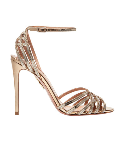 aquazzura gold mirrored leather studio sandal 105 heels