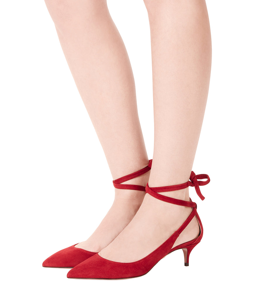 aquazzura red pointed toe laced milano pump 45 kitten heel