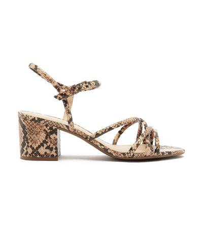 arezzo medium block heel strappy sandals snake print
