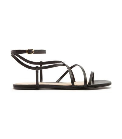 arezzo flat leather strap sandals black