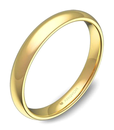 argyor thick half-round wedding band 3.0mm yellow gold polished