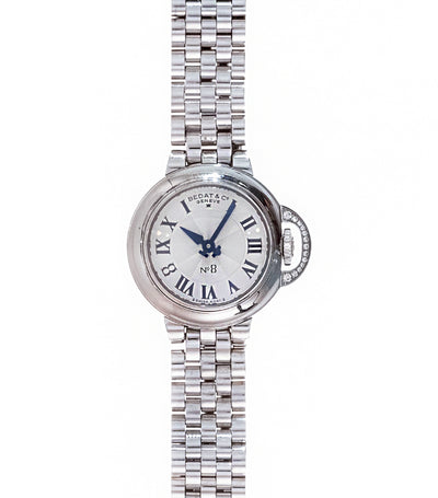 No.8 Round-Shaped Steel Quartz Wristwatch with Diamonds
