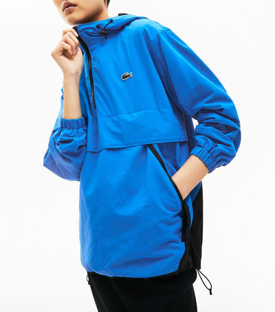 Unisex Lacoste LIVE Water-Resistant Pullover Windbreaker Blue and Black