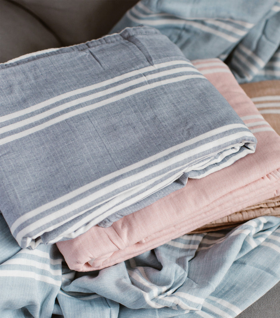 linen & homes bamboo cotton blanket - blue