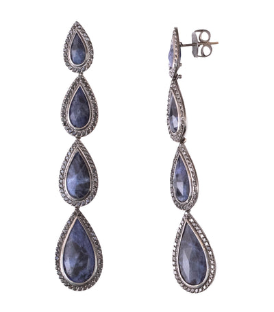 Carla Amorim Giardino Sodalite Drop Earrings Black Gold