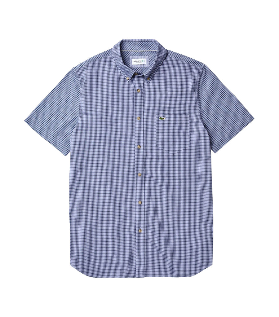 Men's Regular Fit Gingham Cotton Shirt Navy Blue and Purple