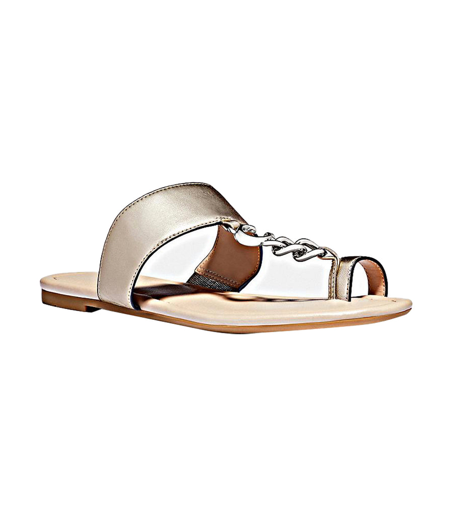 Jaimee C Chain Metallic Leather Sandal Silver