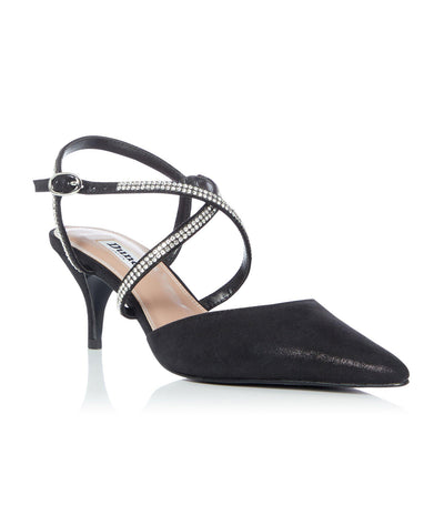 Coby Embellished Cross Strap Mid Court Shoes Black
