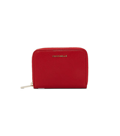 coccinelle metallic saffiano wallet red
