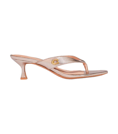 Audree Metallic Leather Sandal Champagne