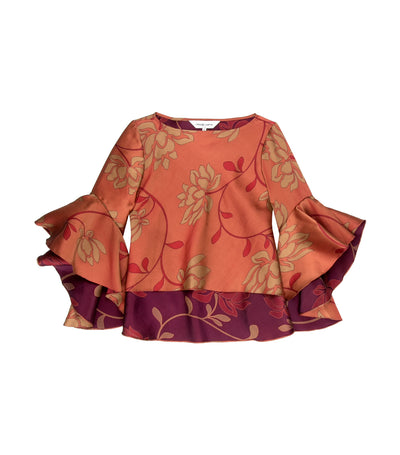 Criselda Gemma Floral Blouse with Flouncing Sleeves Rust