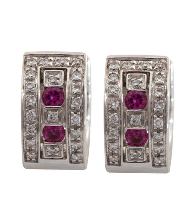Damiani Belle Epoque Ruby and Diamonds Earrings 18k White Gold