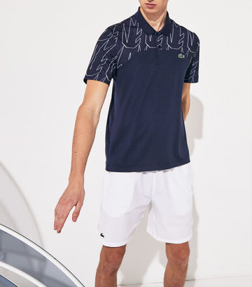Men's Lacoste SPORT x Novak Djokovic Breathable Ultra-Light Polo Shirt Navy Blue and White