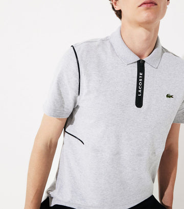 Men's Lacoste SPORT Ultra Soft Cotton Zip Polo Shirt Gray and Black