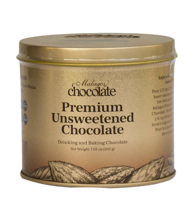 Malagos Chocolate Premium Unsweetened Chocolate Gift Can- 200g
