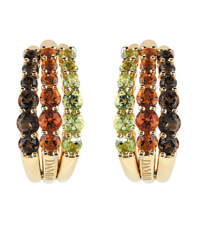 Gaia Smokey Quartz Diamonds and Peridot Earrings 18k Yellow Gold
