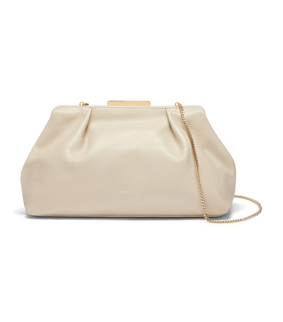 Florence Smooth Leather Clutch Ivory