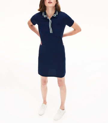 Women's Contrast Stretch Cotton Polo Dress Navy Blue