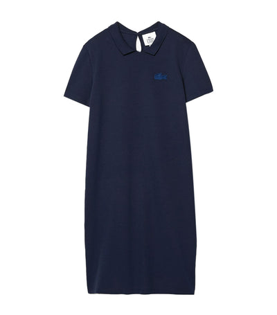 Women's Lacoste LIVE Stretch Piqué Velvet Crocodile Polo Dress Navy Blue