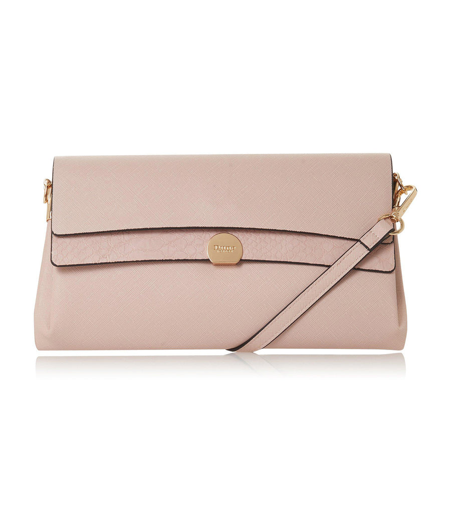 Elline Layered Flap Clutch Bag Nude