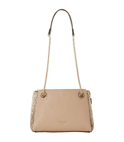 Evette DI Eyelet Chain Crossbody Bag Natural