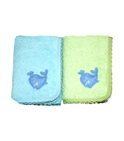 Face Towel Pair - Blue and Green
