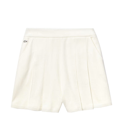 Women's Lacoste LIVE Cotton Piqué Pleated Shorts White