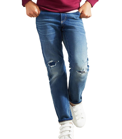 Kids Slim Pull-On Jeans with Stretch Medium Destroy