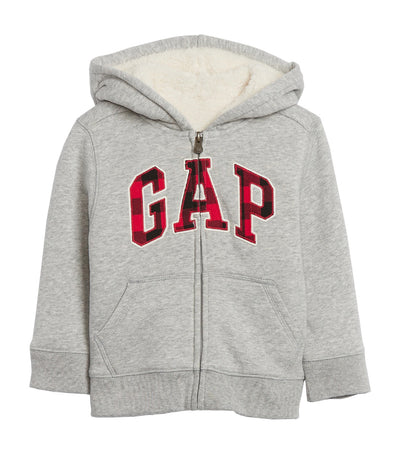 gap kids toddler cozy gap logo sherpa hoodie - gray and white marl