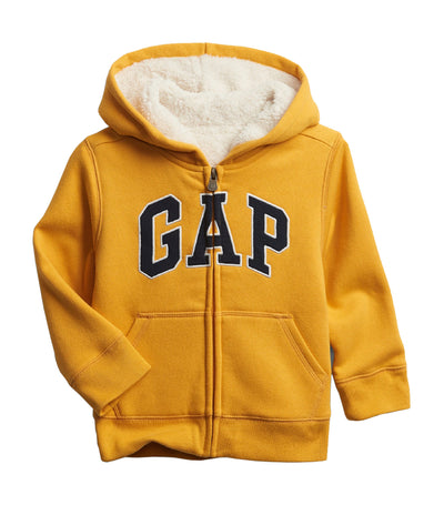 gap kids toddler cozy gap logo sherpa hoodie - rugby gold