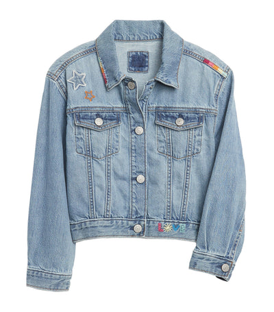 Kids Cropped Denim Graphic Icon Jacket Light Wash