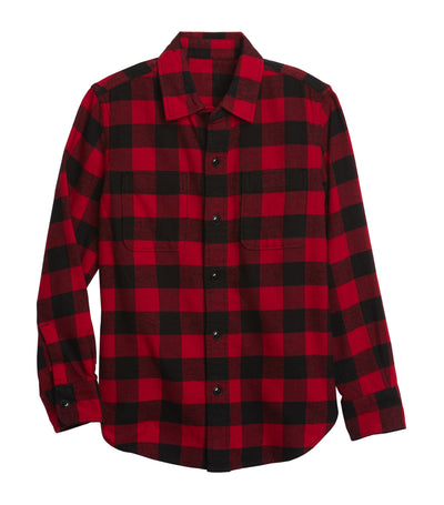 Kids Flannel Shirt Red Buffalo Plaid