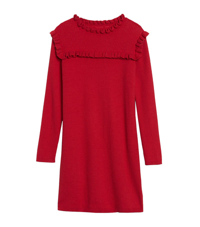 Kids Ruffle Ribbed Knit Dress Modern Red