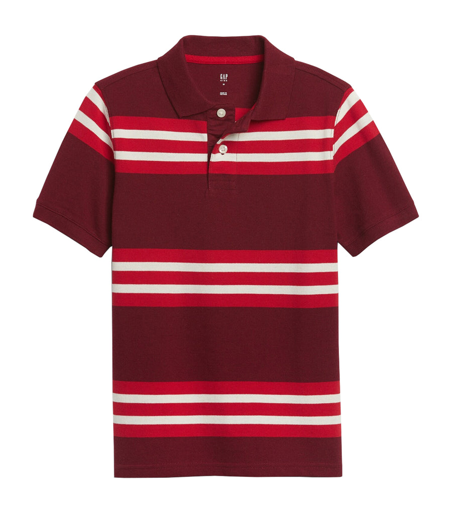 gap kids polo t-shirt - burgundy stripe