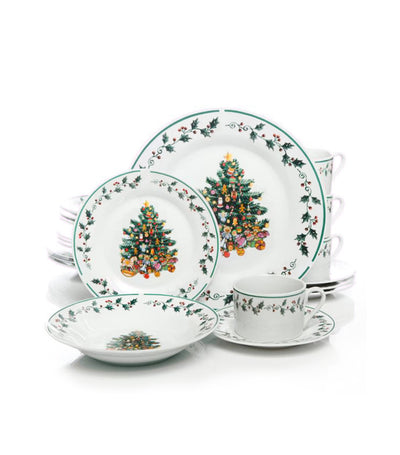 gibson tree trimming 20 piece dinnerware set christmas theme