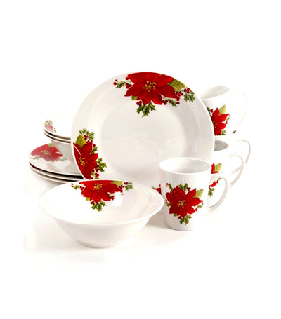 gibson noble poinsettia 12-piece dinnerware set