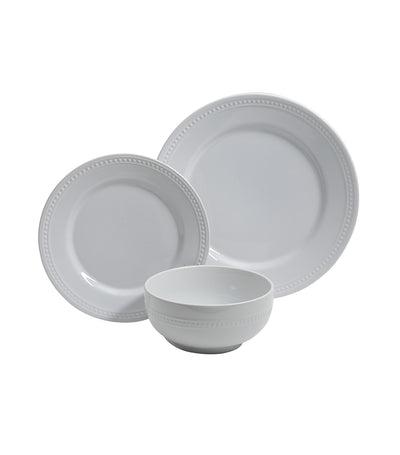 gibson royal palace 12-piece dinnerware set in embossed white