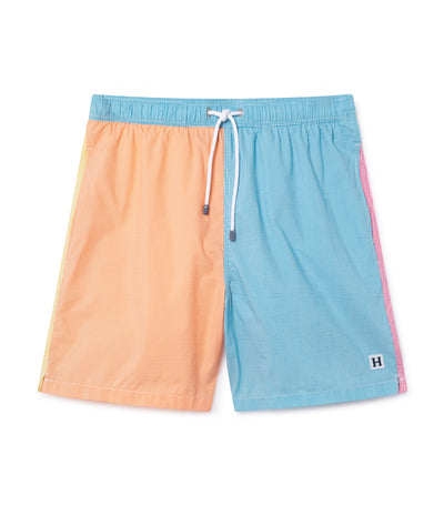 hackett color block striped swim shorts
