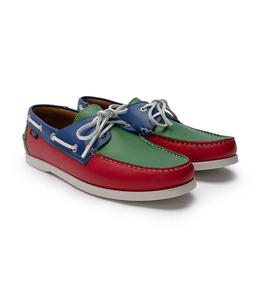 hackett multi-colored leather boat shoes