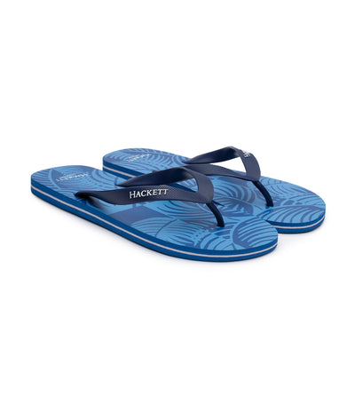 hackett palm tree flip flops blue