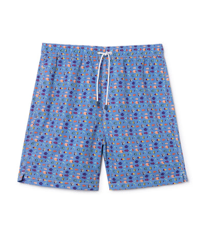 hackett geo fish print swim shorts
