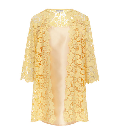 criselda divine floral lace robe set yellow