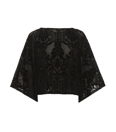 criselda jocel loose angel sleeve velvet top black