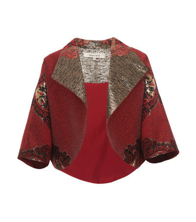 criselda korina collared brocade jacket red