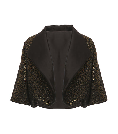 criselda korina collared brocade jacket gold