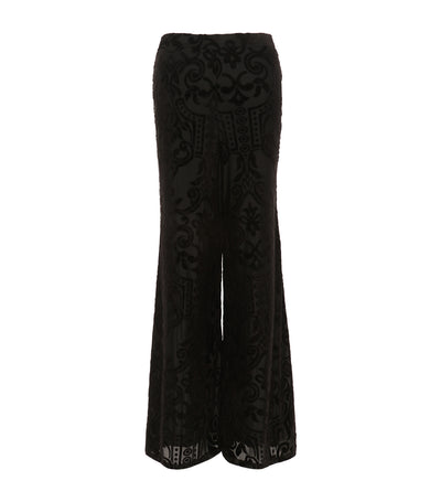 criselda palazzo velvet detailed pants black