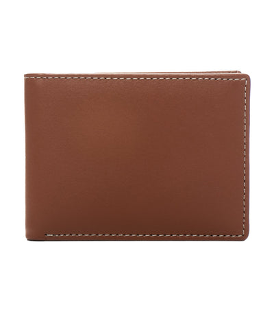 stewart/stand billfold wallet with id window stainless steel and tan leather