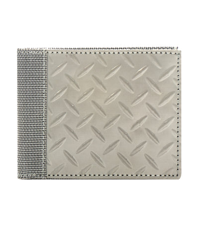 stewart/stand textured diamond stainless steel billfold wallet silver