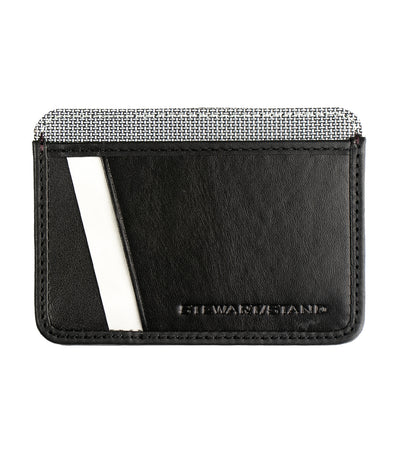 stewart/stand card case with id window black leather