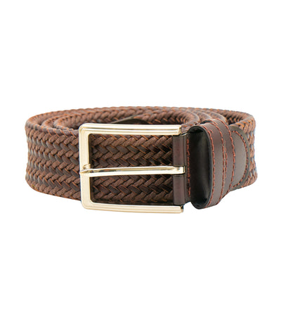 oleg cassini man mixed leather woven belt with buckle brown